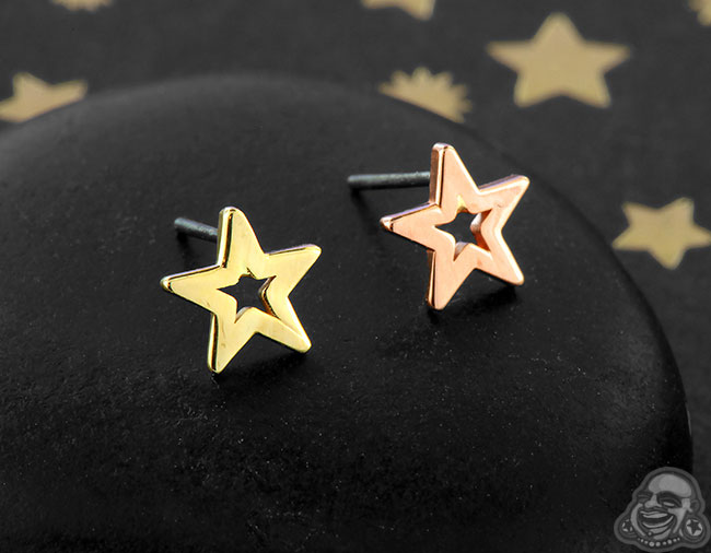 14k Gold Open Star Threadless End