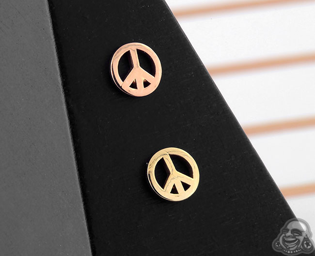 14k Gold Peace Sign Threadless End