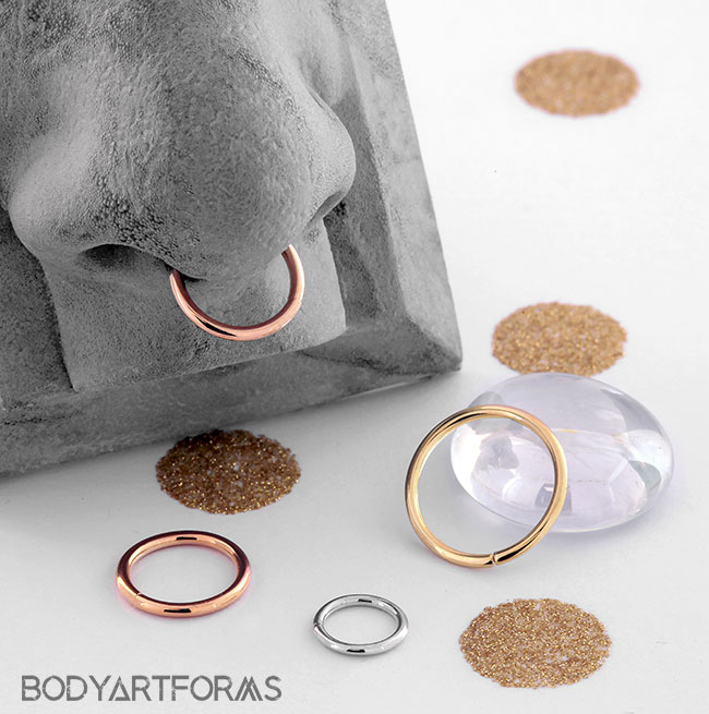 14k Solid Gold Seamless Ring Nose Hoop Body Gems