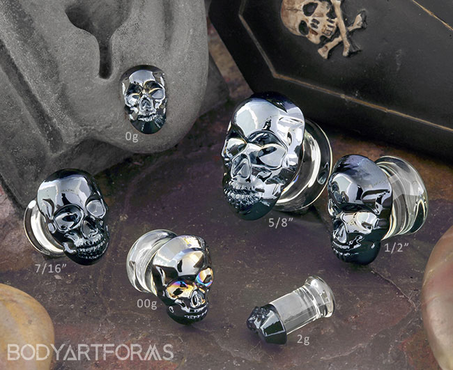 Crystal Skull Glass Plugs
