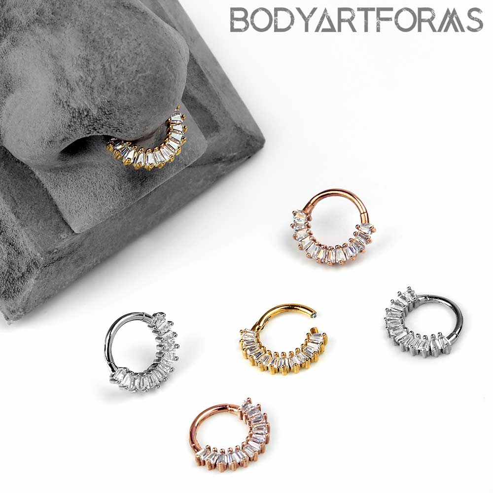 Baguette Gem Septum Clicker Ring Steel