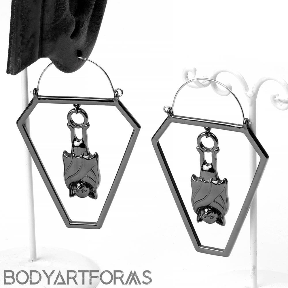 Steel Coffin Bat Earring