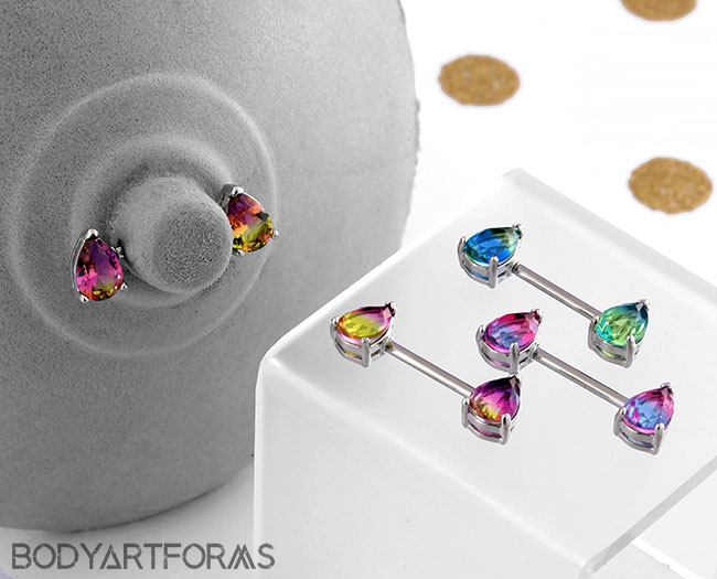 Teardrop Fade Gem Nipple Barbell