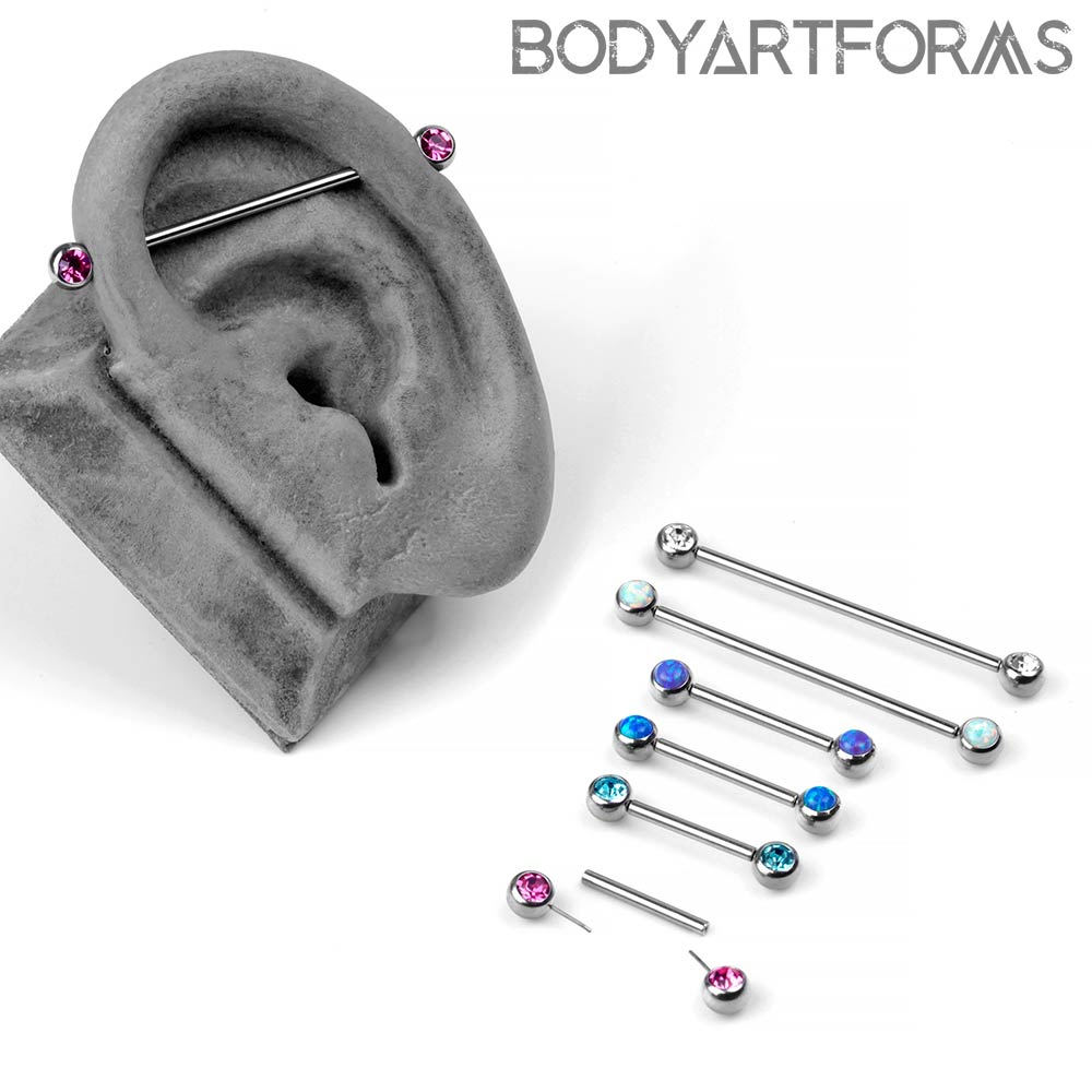 Steel Threadless Gem and Opal Barbells