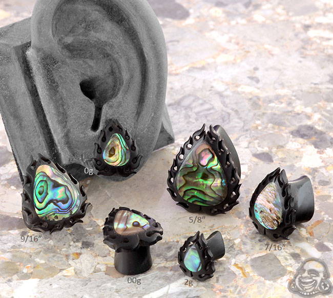 Flaming Abalone Teardrop Ironwood Plugs