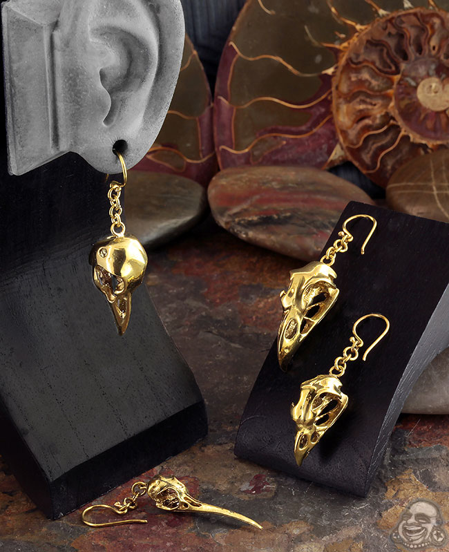 Hummingbird Skull Gauged Earrings Bird Skull Gauge Earrings Antique Silver Bird Skull Ear Weights