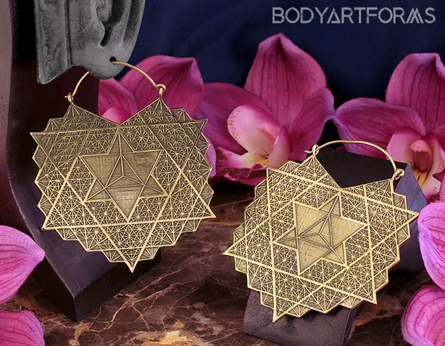 Sacred Geometry Brass Hoops
