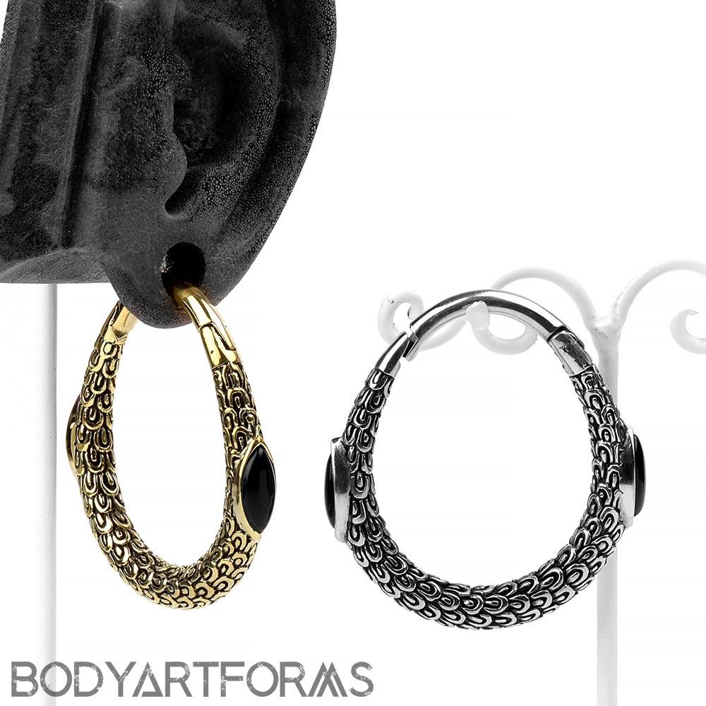 Brass and Black Onyx Fern Weights