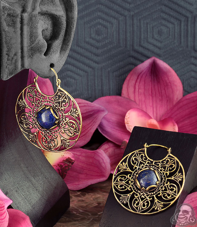Brass and Lapis Floret Hoops