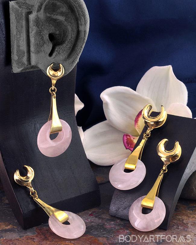 Brass Saddles with Rose Quartz Disc Weights