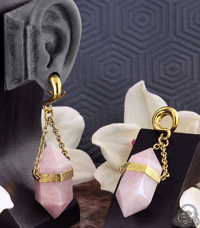 Solid Brass and Terminated Rose Quartz Weights