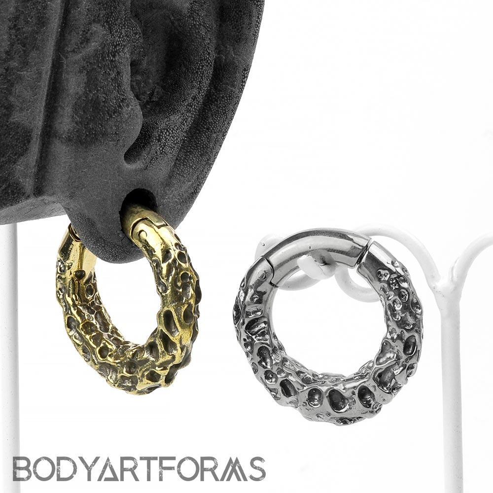 Brass Textured Hoops