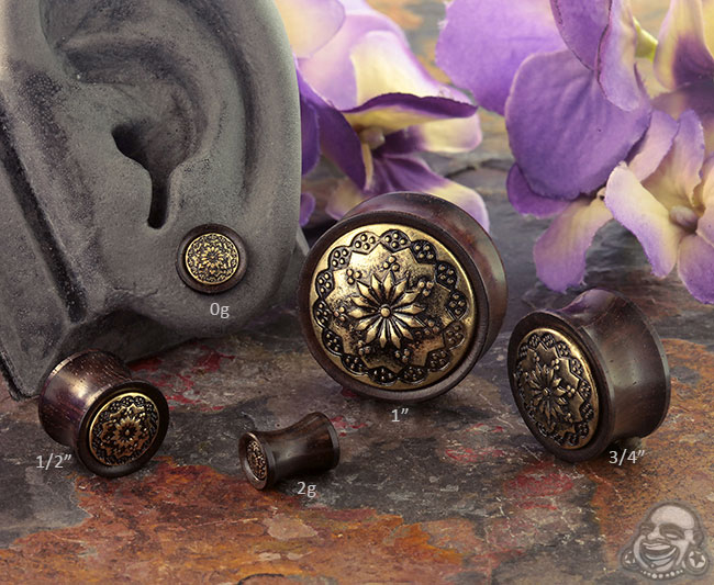 Ebony Wood and Floral Brass Plugs