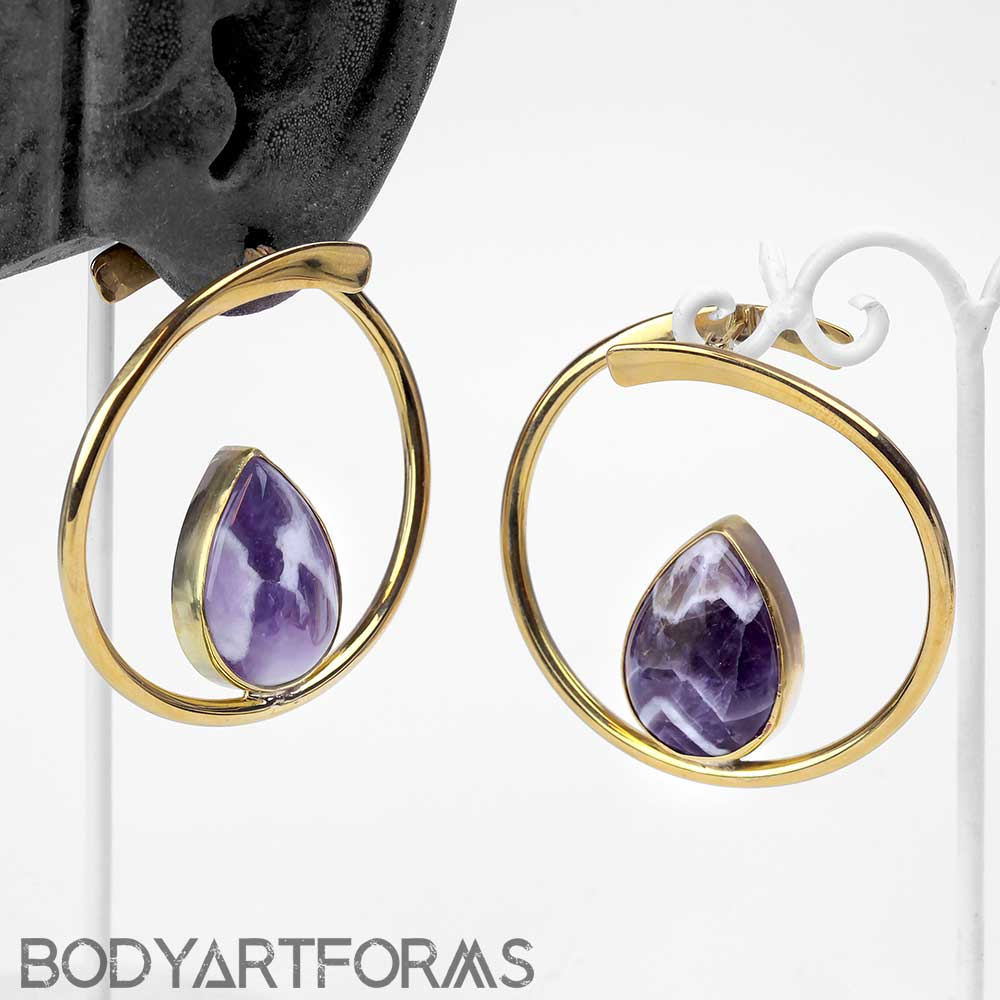 Brass Stay Sexy Hoops With Amethyst