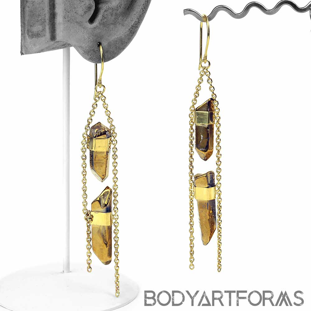 2 Chainz Earrings with Plated Quartz