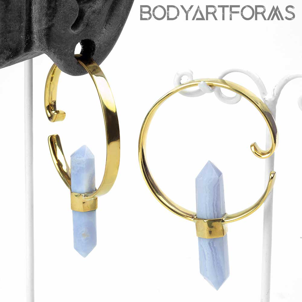 Brass Alchemy Weights with Blue Lace Agate