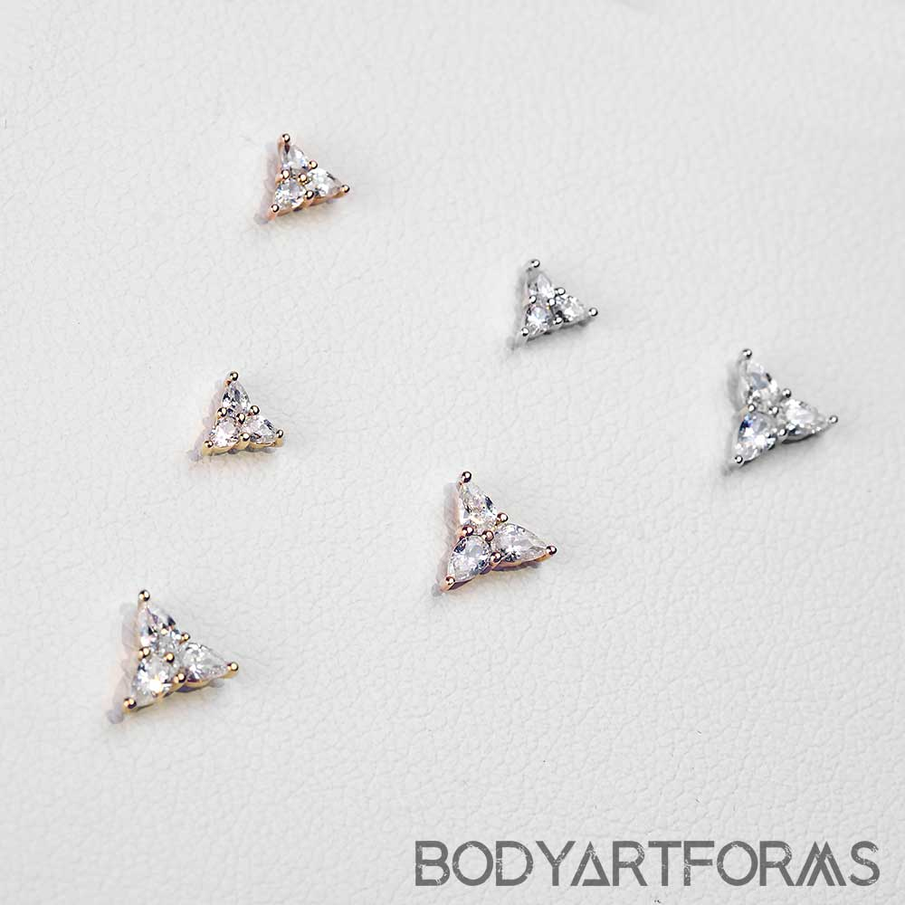 Solid 14k Gold 3 Little Pears Threadless End