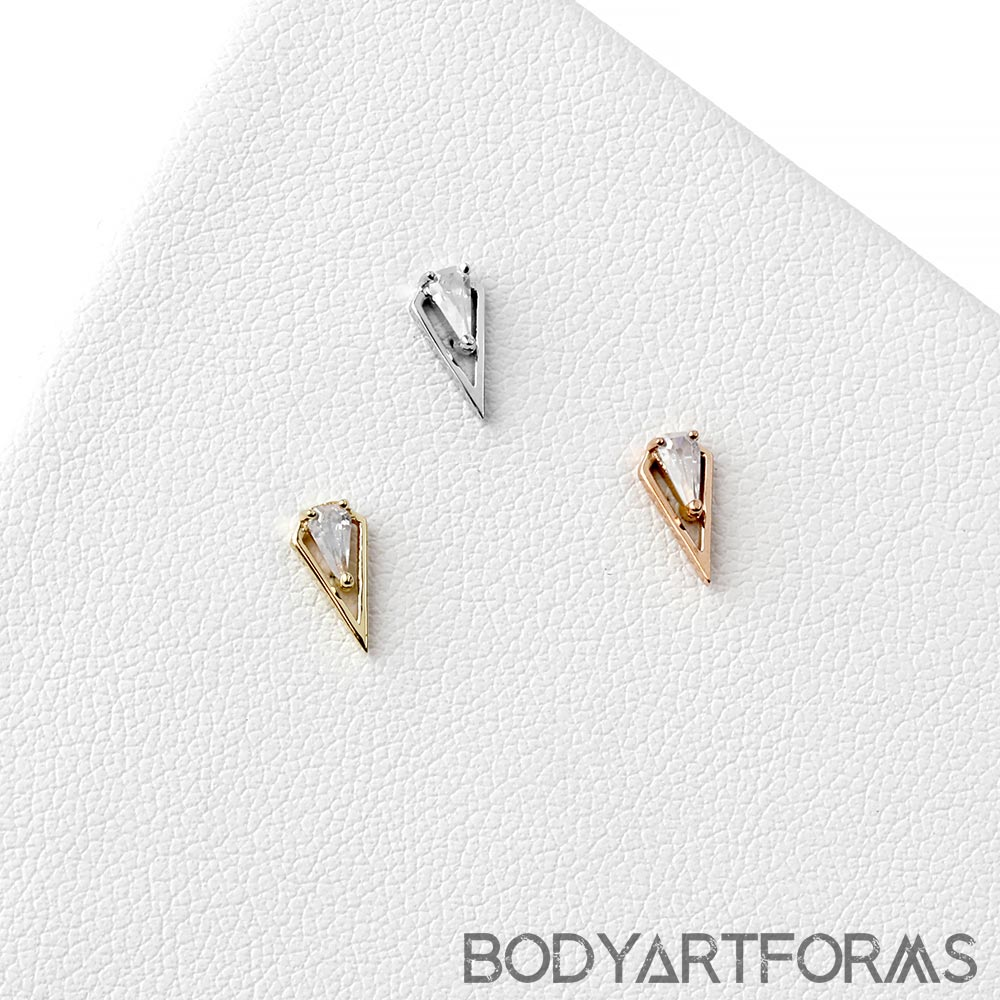Solid 14k Gold ArtHaus Threadless End with CZ