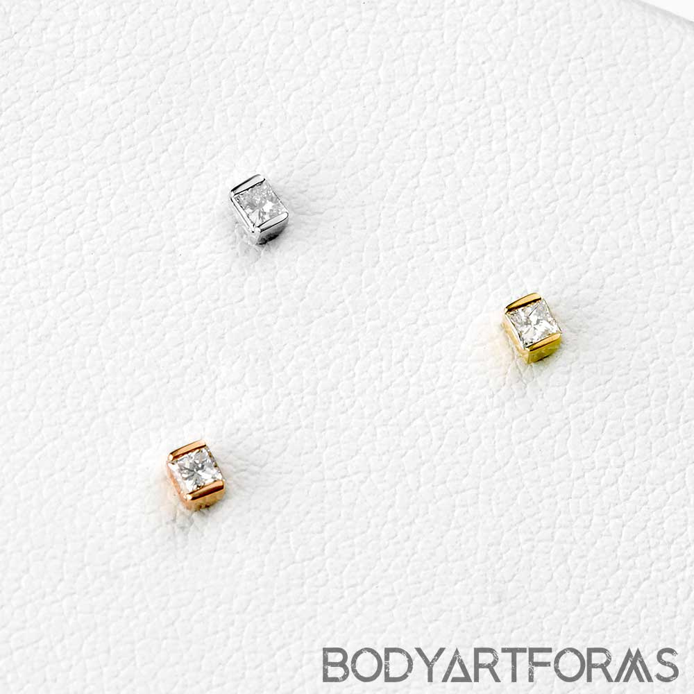 Solid 14k Gold CEO Threadless End with White Diamond