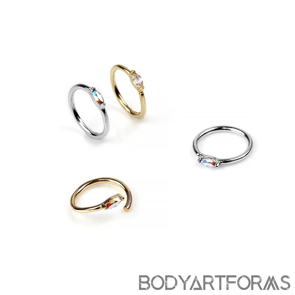 14K Gold Zuri Seamless Ring with Side Set Mercury Mist Gems