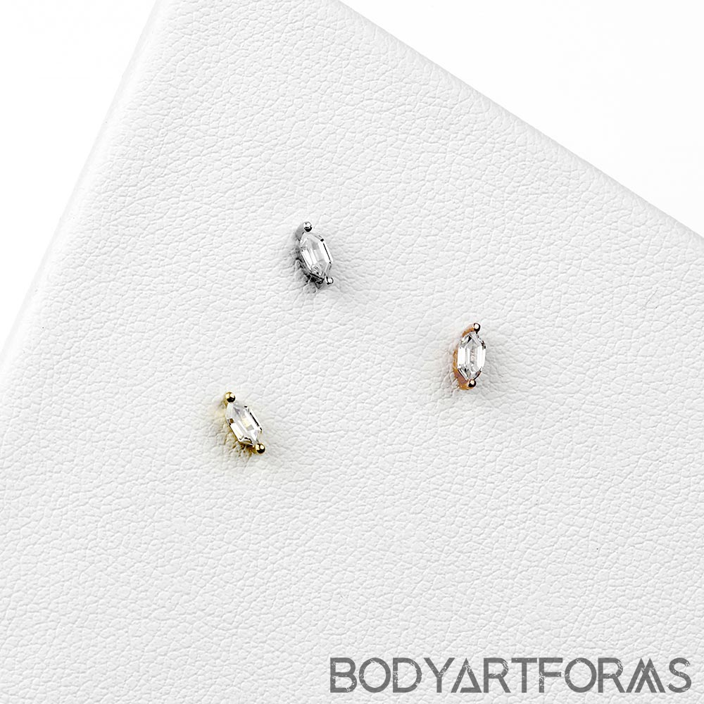 Solid 14k Gold Oh My My Threadless End with CZ Gems