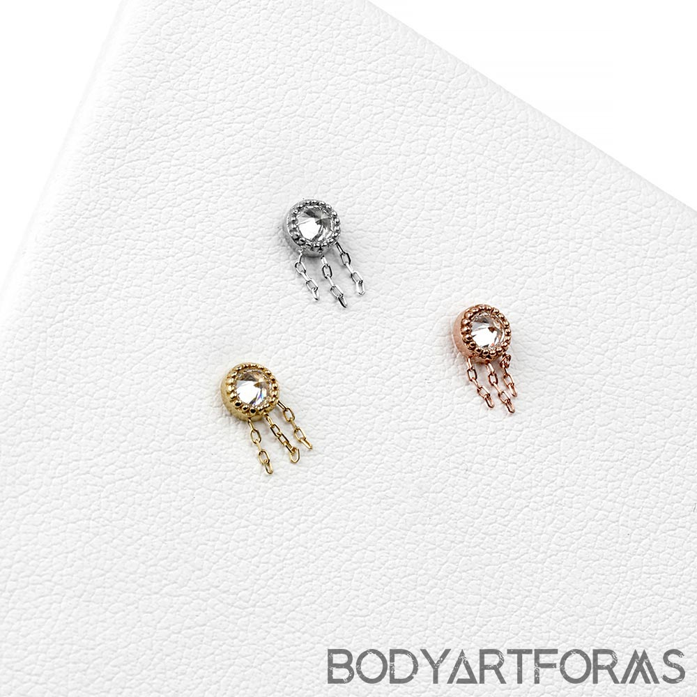 Solid 14k Gold Rebel Threadless End with CZ Gems