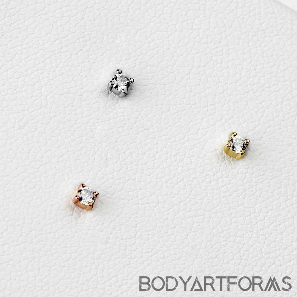 Solid 14k Gold Prong Set Diamond Threadless End