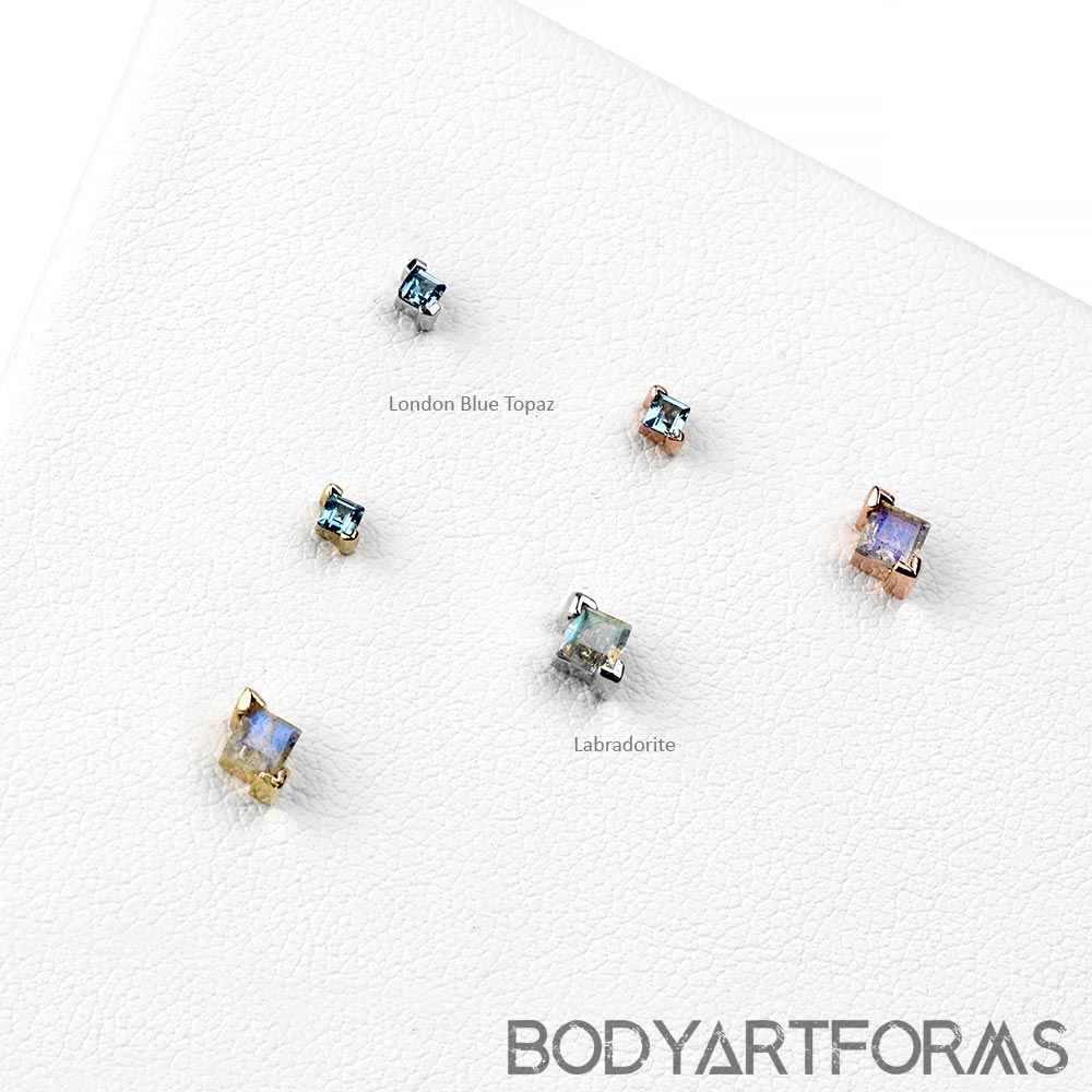 Solid 14k Gold Celestial Threadless End with Gemstones