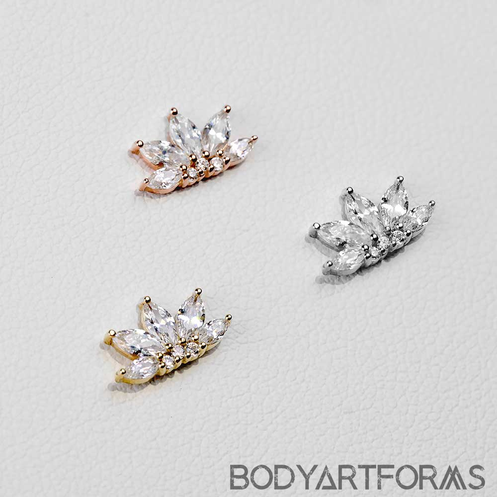 Solid 14k Gold Valentina Threadless End with Gems