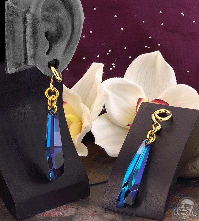 Bermuda Blue Swarovski Crystal with Brass Hooks
