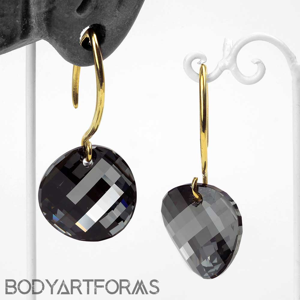 Swarovski Black Diamond Design with Brass Hooks