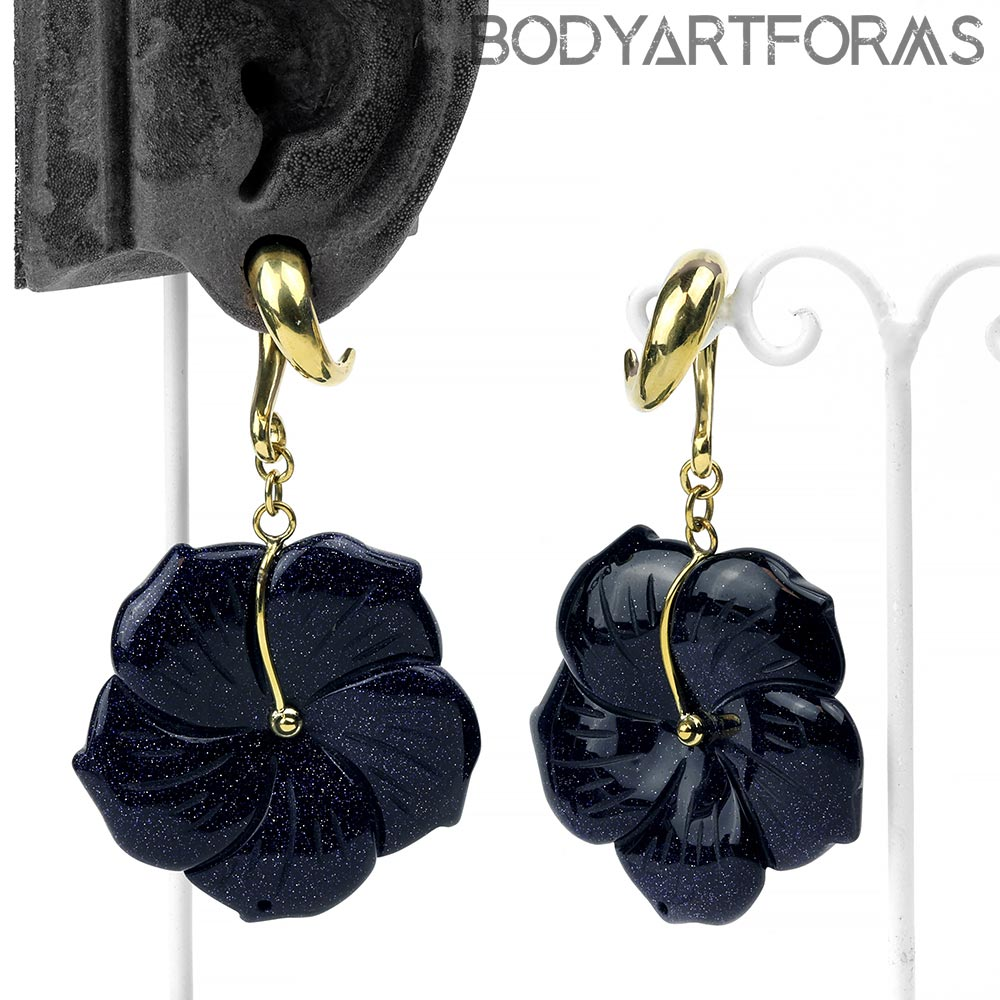 Solid Brass and Blue Goldstone Flower Weights