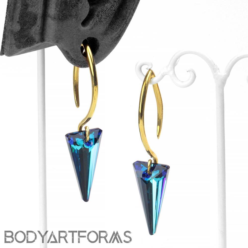 Bermuda Blue Swarovski Crystal Design with Brass Hooks