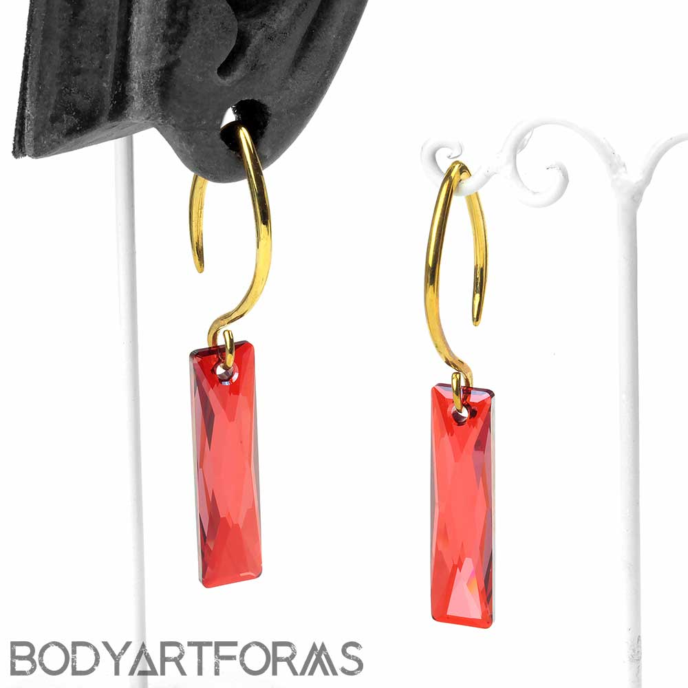 Red Crystalcitite Design with Brass Hooks
