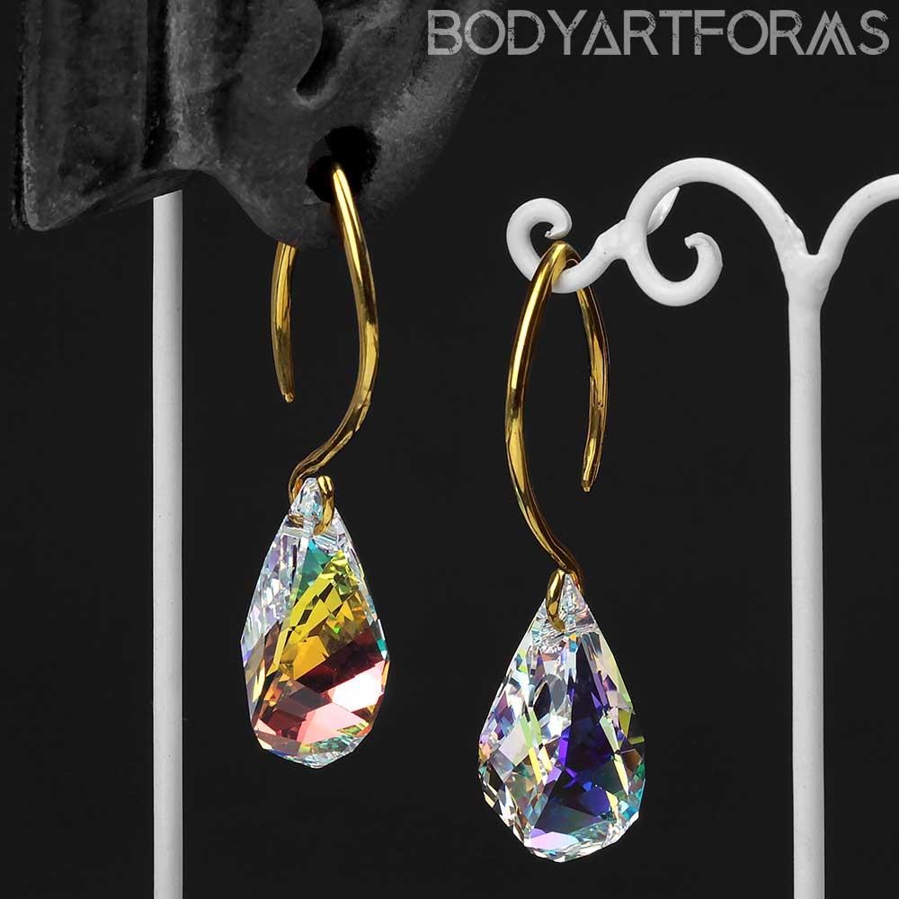 AB Swarovski Drop Crystal with Brass Hooks