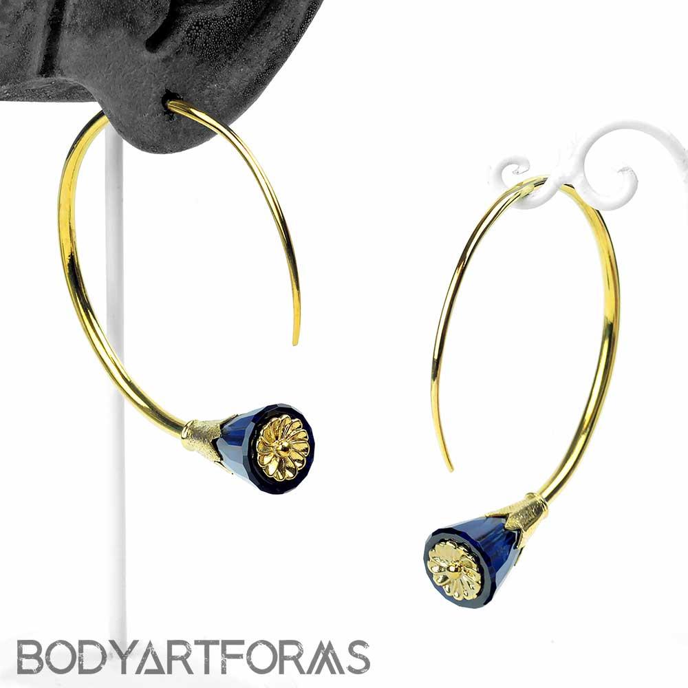 Solid Brass Tsabit Design with Dark Blue Glass Flowers