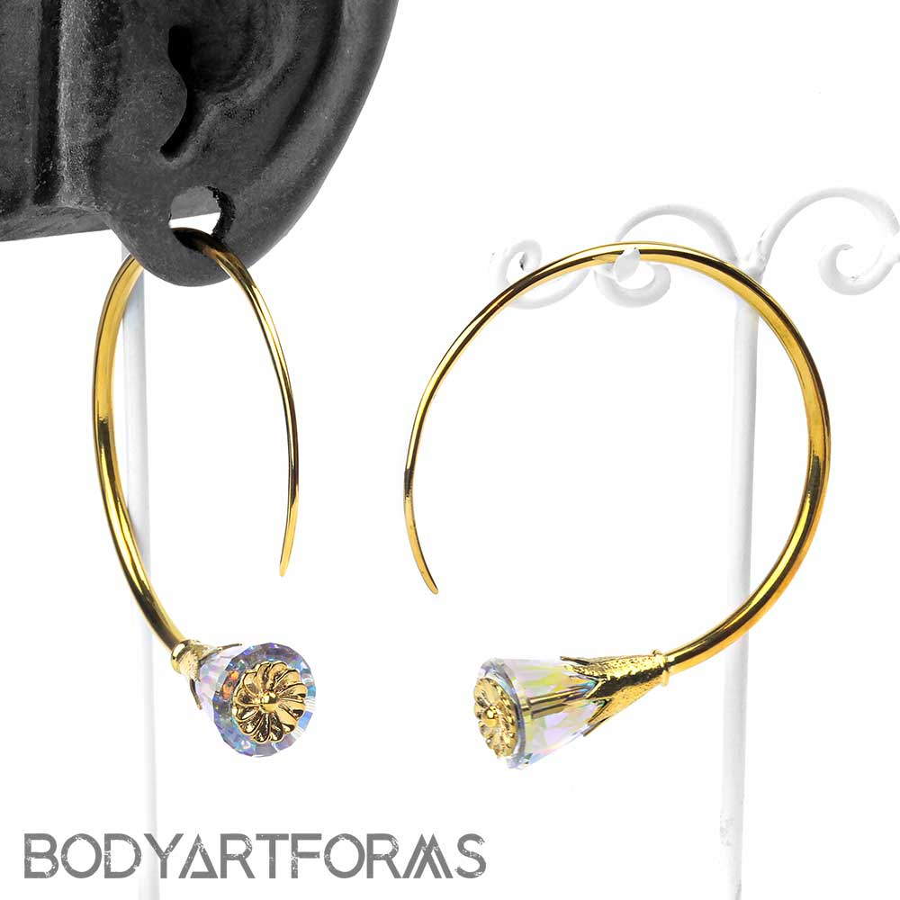 Solid Brass Tsabit Design with AB Glass Flowers