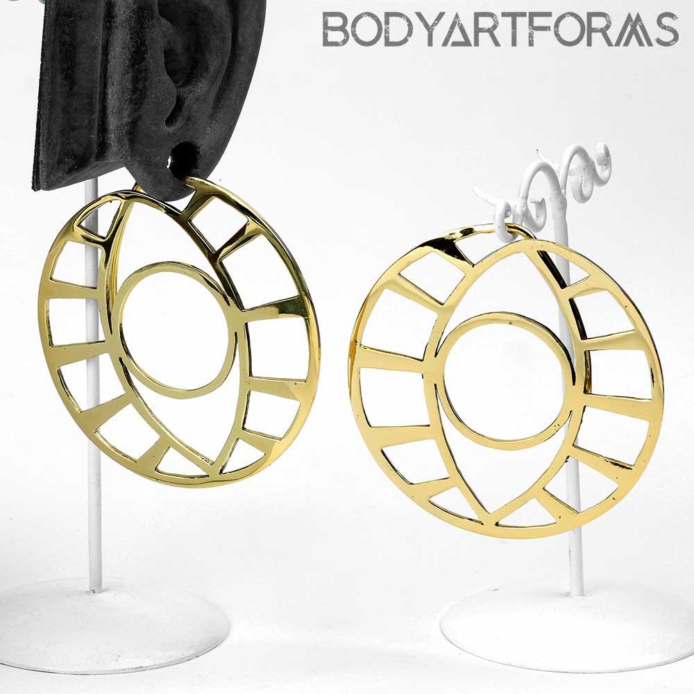 Solid Brass Knowing Eye Hoops
