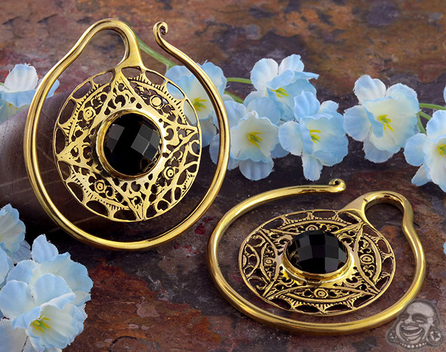 Solid Brass Aether Puj Ju Hoops with Black Agate