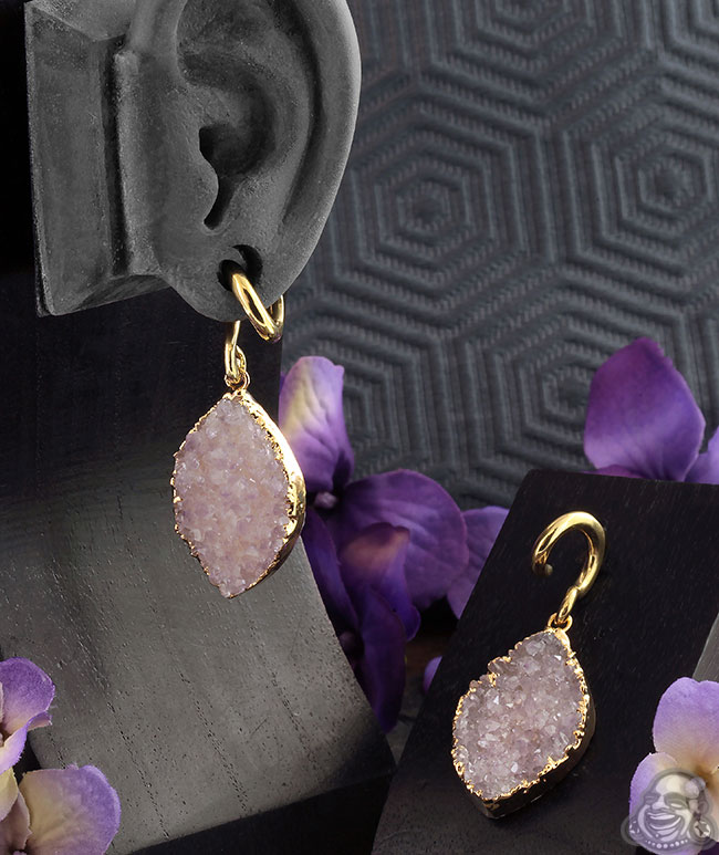 Solid Brass and Amethyst Druzy Weights
