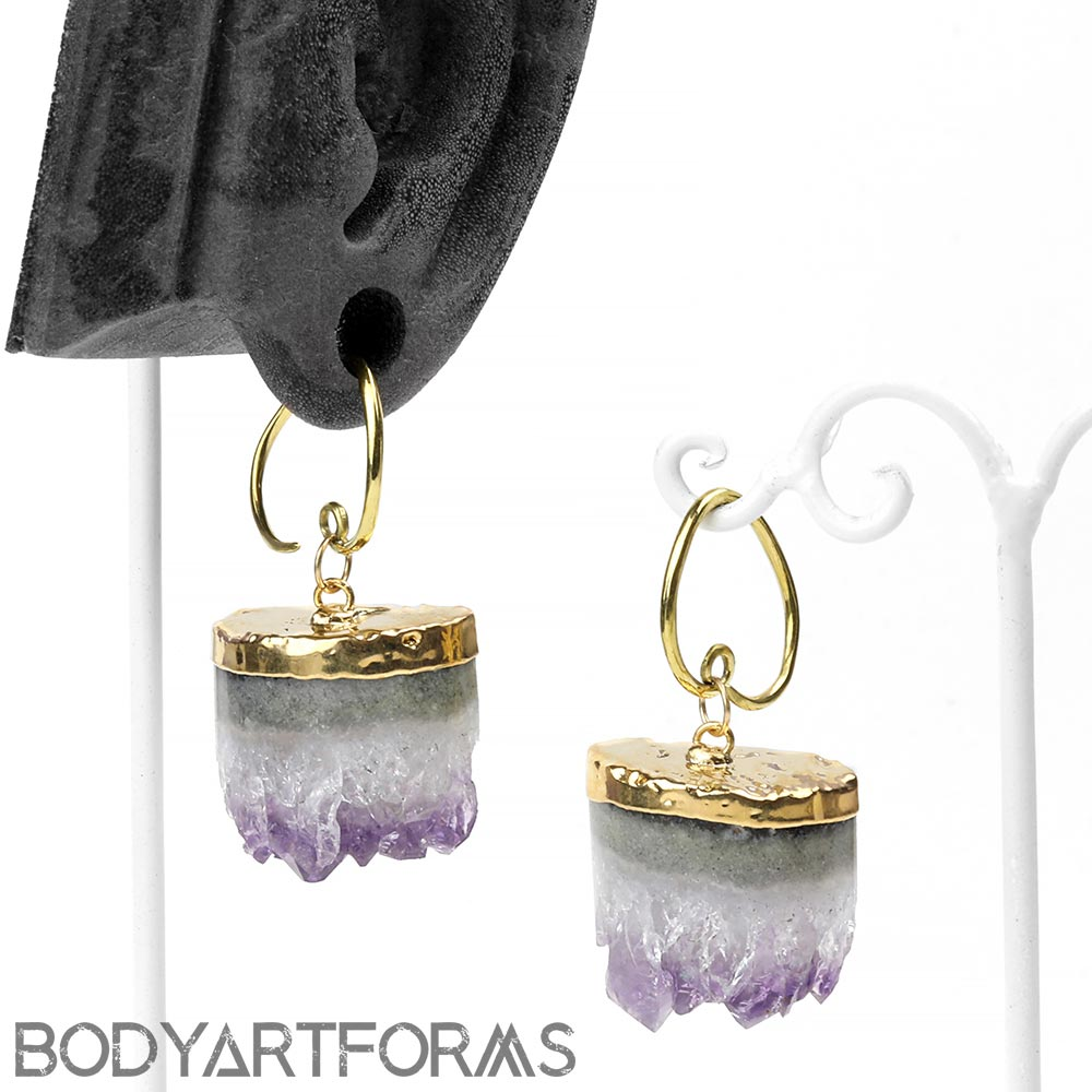 Brass and Gold Dipped Amethyst Half Cylinders