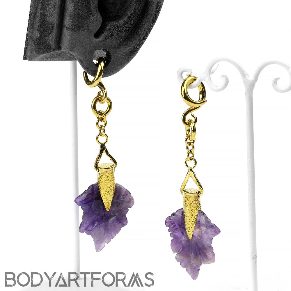 Solid Brass and Amethyst Maple Leaf Weights