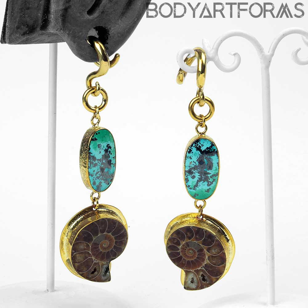 Solid Brass Ammonite and Chrysacolla Weights