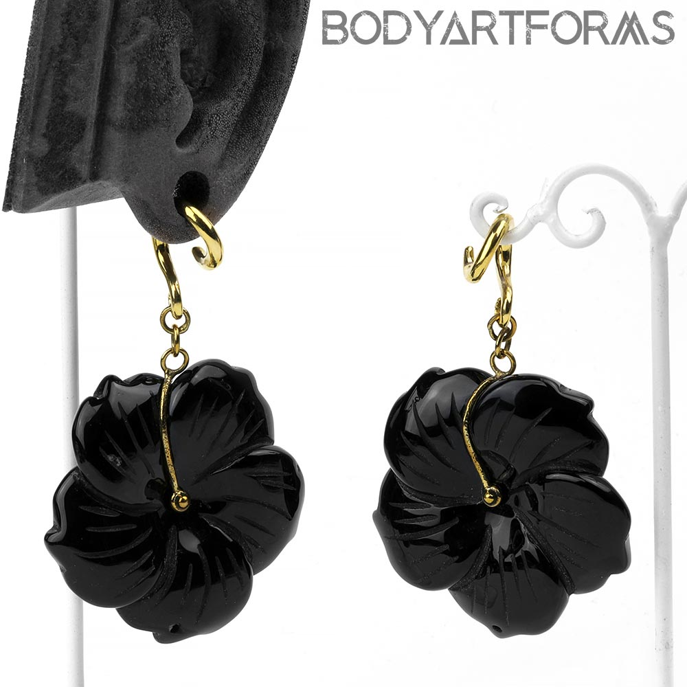 Solid Brass and Black Obsidian Flower Weights