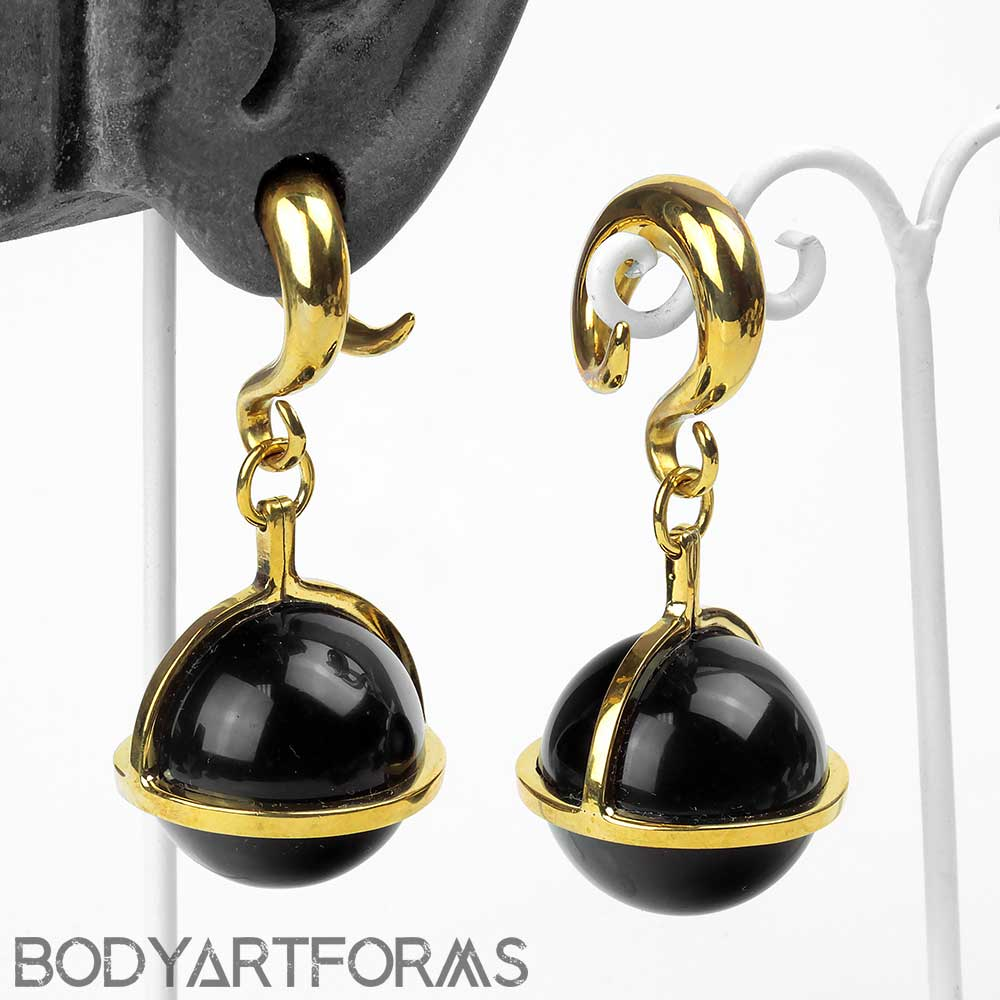 Solid Brass and Black Obsidian Globe Weights
