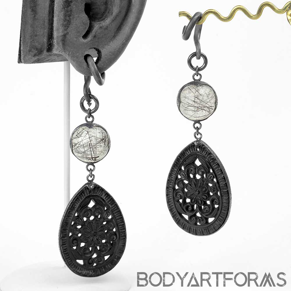 Carved Black Flower and Tourmalated Quartz Dangle Weights