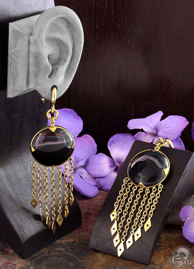 Solid Brass and Chain Wheel Weights with Banded Black Agate