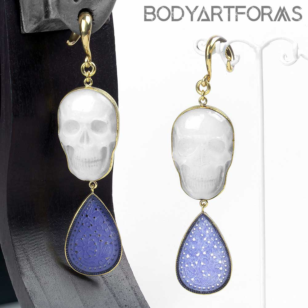 Carved Chalcedony Flower and Skull Dangle Weights