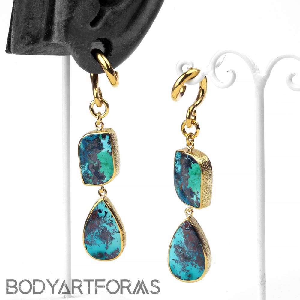 Solid Brass Chrysacolla Dangle Weights