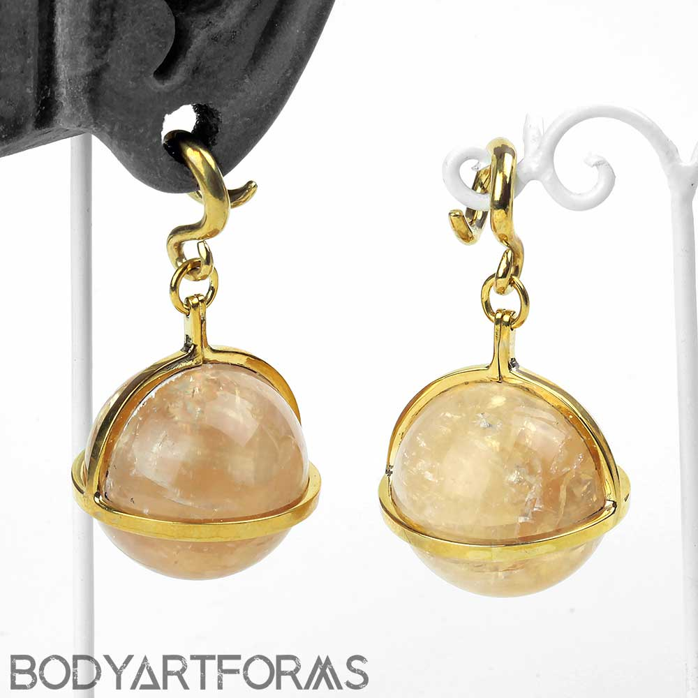 Solid Brass and Citrine Globe Weights